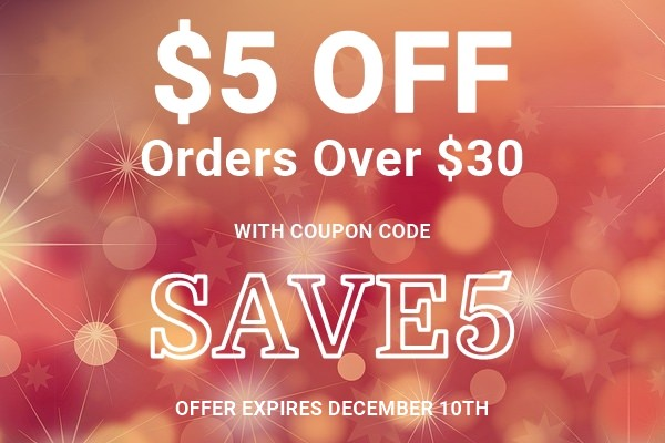 $5 Off Orders Over $30 With Coupon Code SAVE5
