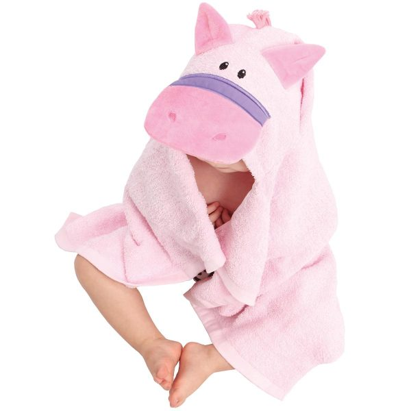 AM PM Kids Pink Horse Baby Hooded Towel