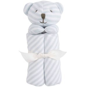 Elegant Baby Striped Blue Bear Blankie (15 x 15)