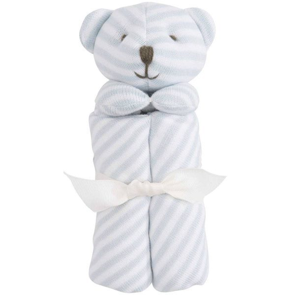 Elegant Baby Striped Blue Bear Blankie