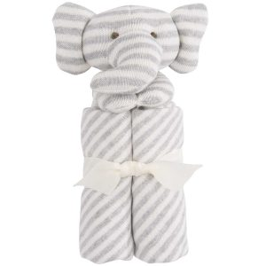 Elegant Baby Striped Gray Elephant Blankie (15 x 15)