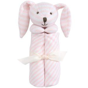 Elegant Baby Striped Pink Bunny Blankie (15 x 15)
