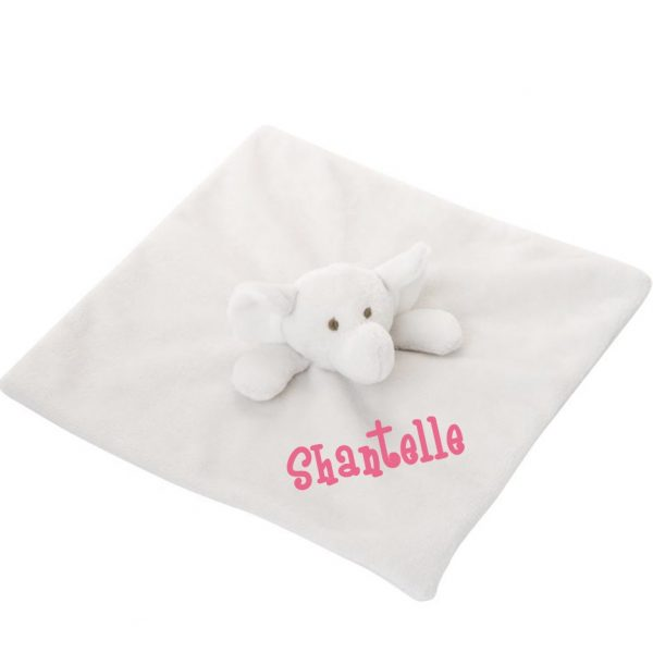 10 Inch Elephant Blankie Lovey With Sample Personalization