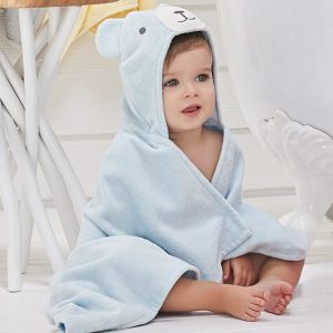Elegant Baby Blue Bear Hooded Towel