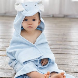 Elegant Baby Blue Elephant Hooded Towel