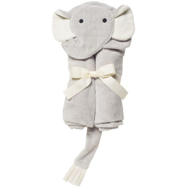 Elegant Baby Gray Elephant Hooded Towel