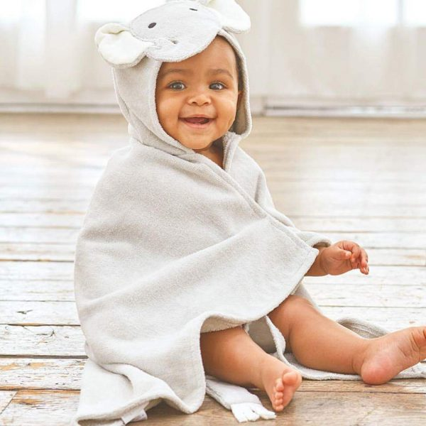 Elegant Baby Gray Elephant Hooded Towel