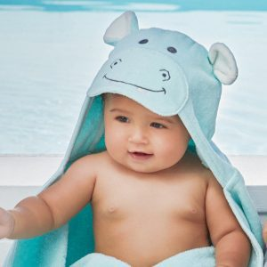 Elegant Baby Hippo Hooded Towel
