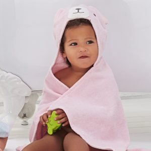Elegant Baby Pink Bear Hooded Towel