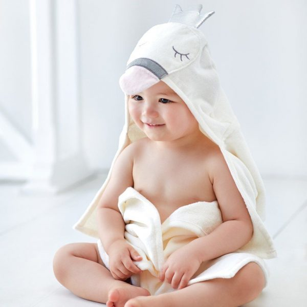 Elegant Baby Swan Hooded Towel