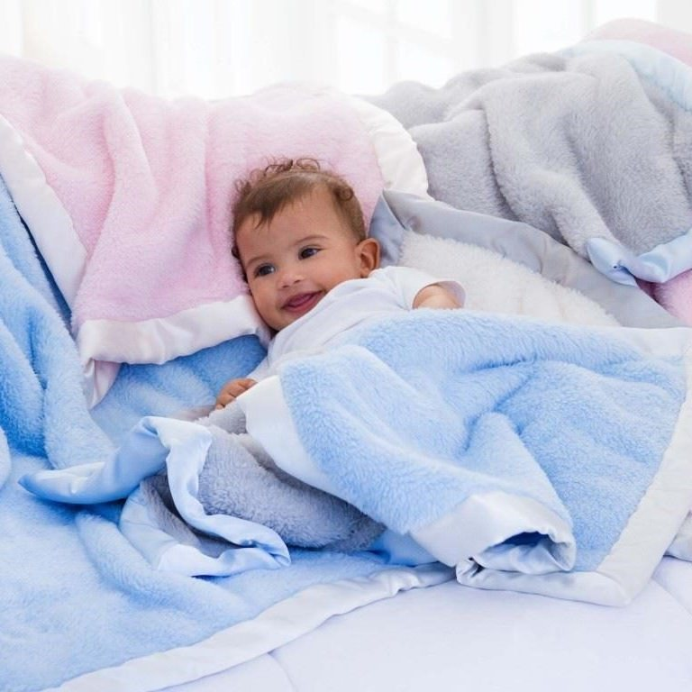 Elegant Baby Fleece Blanket 36 X 45 White Stitch