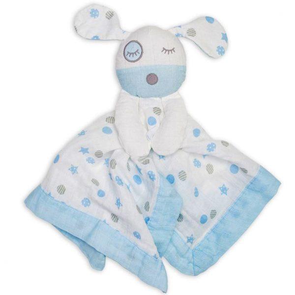 Lulujo Blue Puppy Lovie Security Blanket