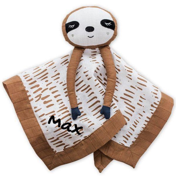 Lulujo Sloth Lovie Security Blanket With Personalization