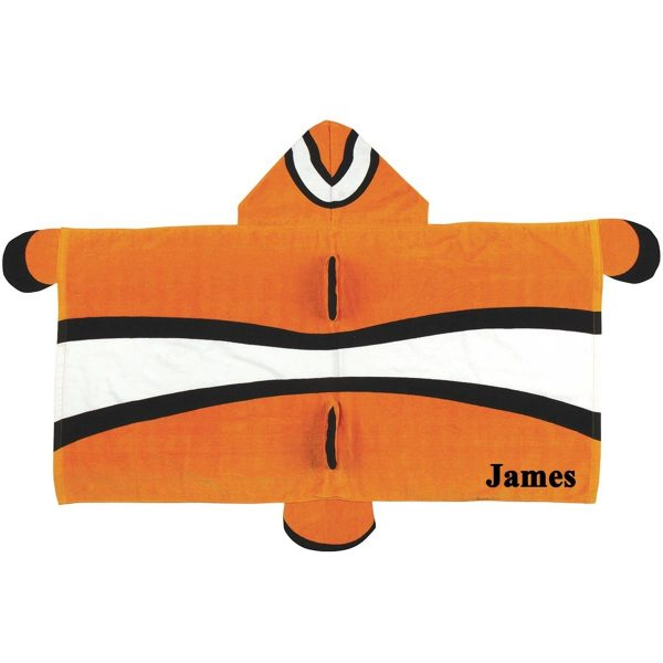 Stephen Joseph Clownfish Hooded Towel Personalized On The Right Side
