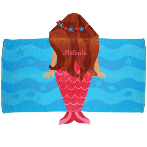 Stephen Joseph Mermaid Hooded Towel Personalized On The Back
