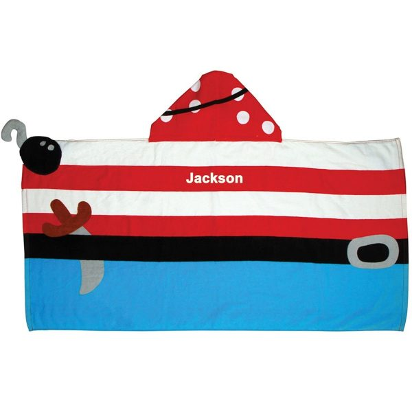 Stephen Joseph Pirate Hooded Towel Personalized On The Back