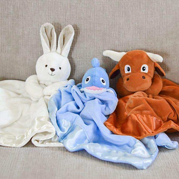 Yikes Twins 20 Inch Lovie Blankets - Bunny, Shark, And Longhorn Steer With Baby