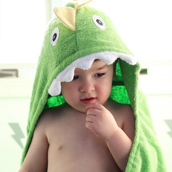 Yikes Twins Dinosaur Hooded Towel