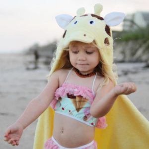 Yikes Twins Giraffe Hooded Towel