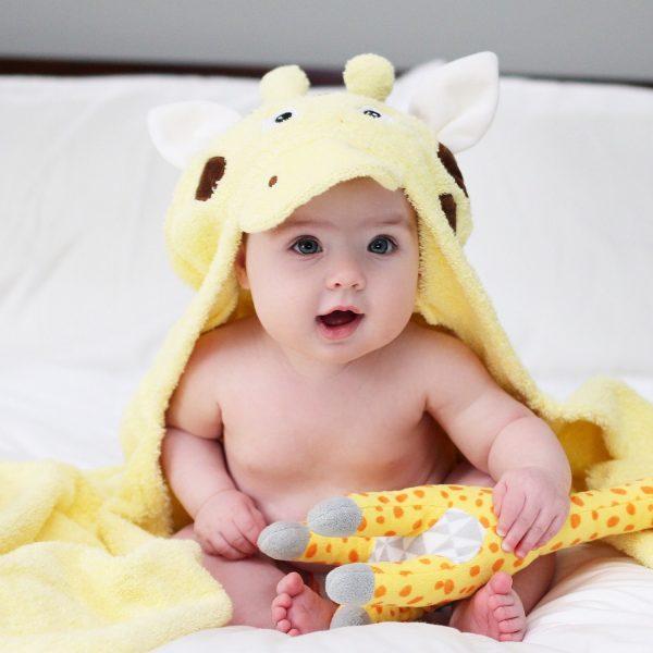 Yikes Twins Giraffe Hooded Towel