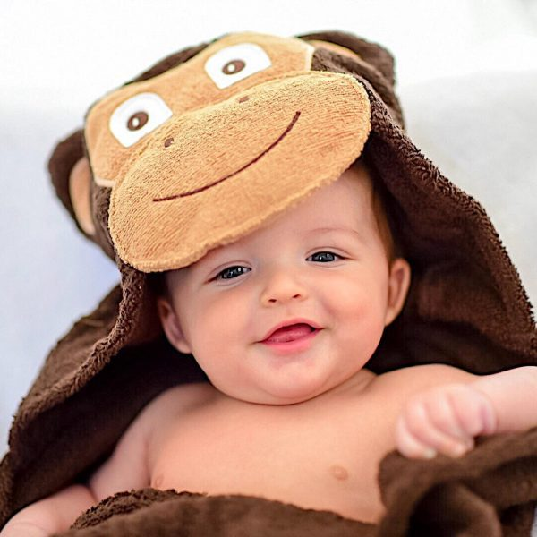 Yikes Twins Monkey Hooded Towel