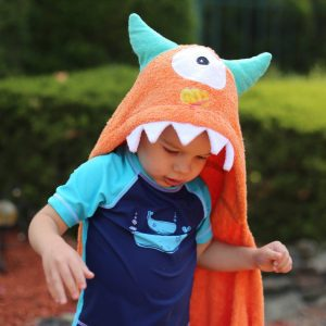 Yikes Twins Orange Monster Hooded Towel