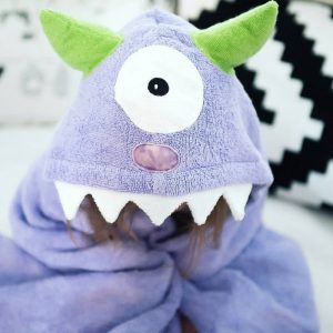 Yikes Twins Purple Monster Hooded Towel