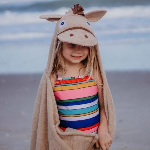 Yikes Twins Tan Horse Hooded Towel