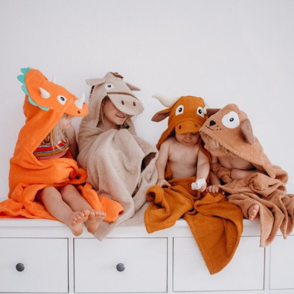 The Yikes Twins kids hooded towels will bring hours of fun. Check out the adorable dinosaur, horse, longhorn, and puppy styles