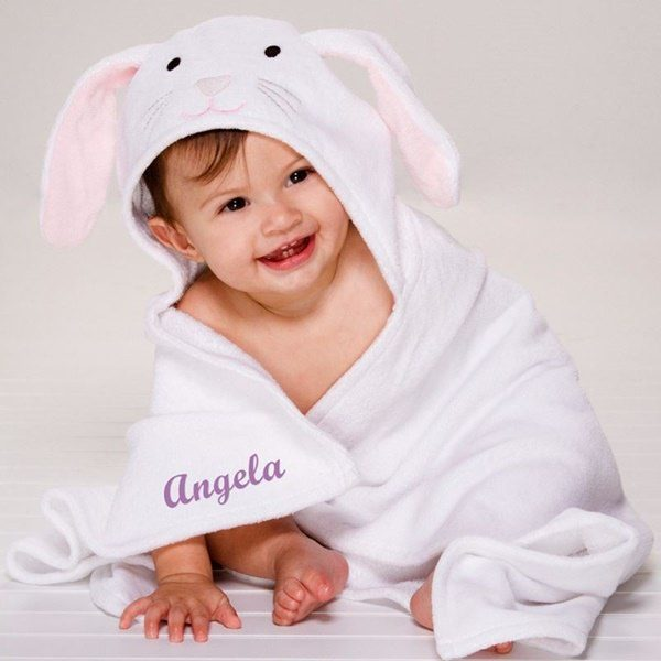 Elegant Baby Hooded Towel With Personalization On The Front