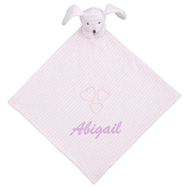 Elegant Baby Striped Pink Bunny Blankie With Personalization