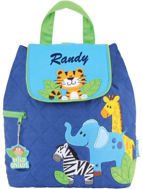 Stephen Joseph Boy Zoo Quilted Backpack With Personalization
