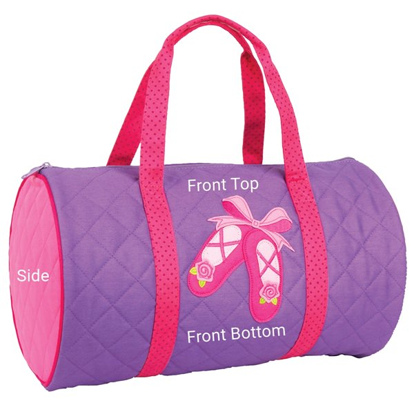 Stephen Joseph Quilted Duffle Personalization Locations