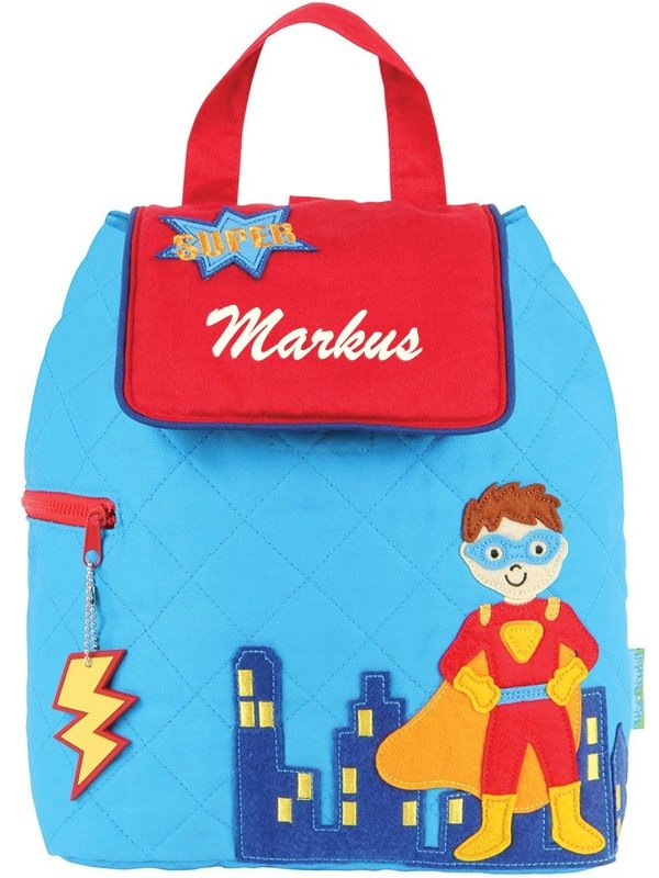 Stephen Joseph Superhero Quilted Backpack With Personalization